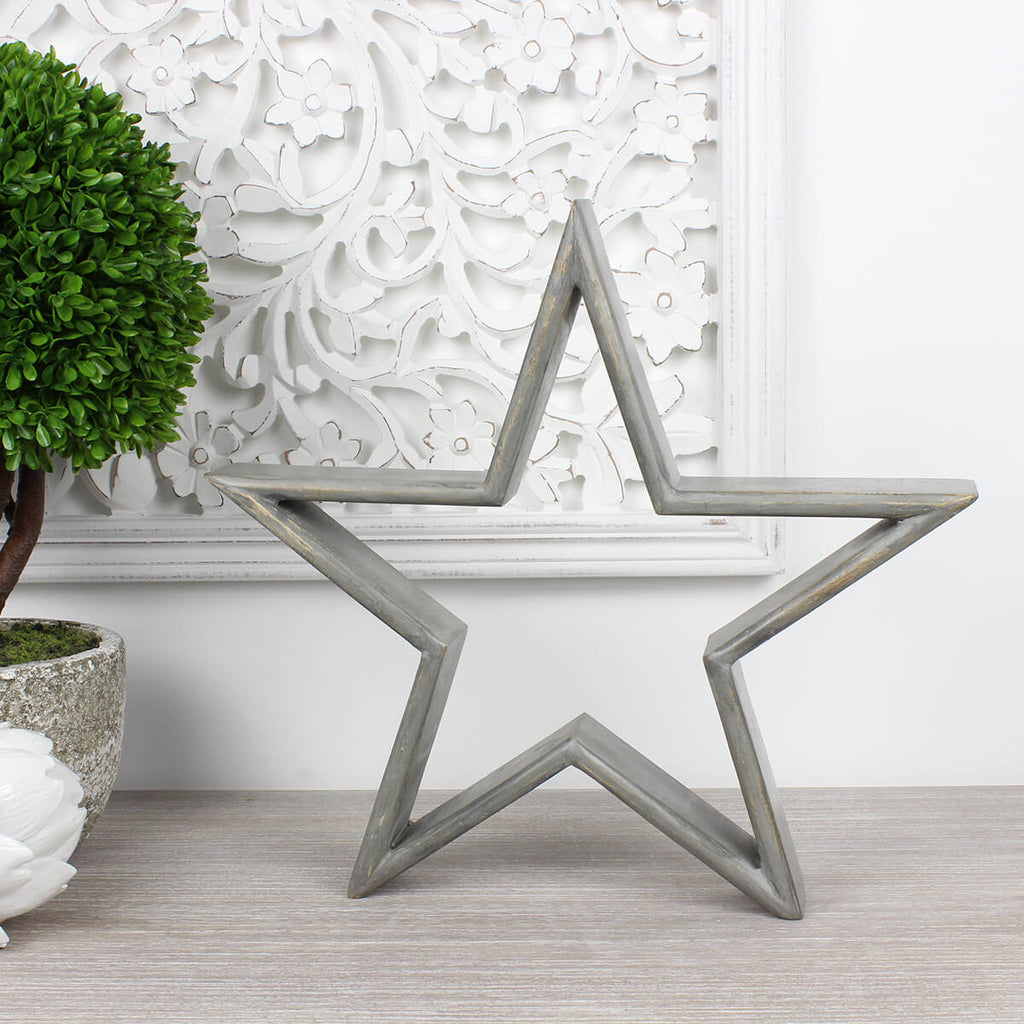 Large Grey Mango Wood Star