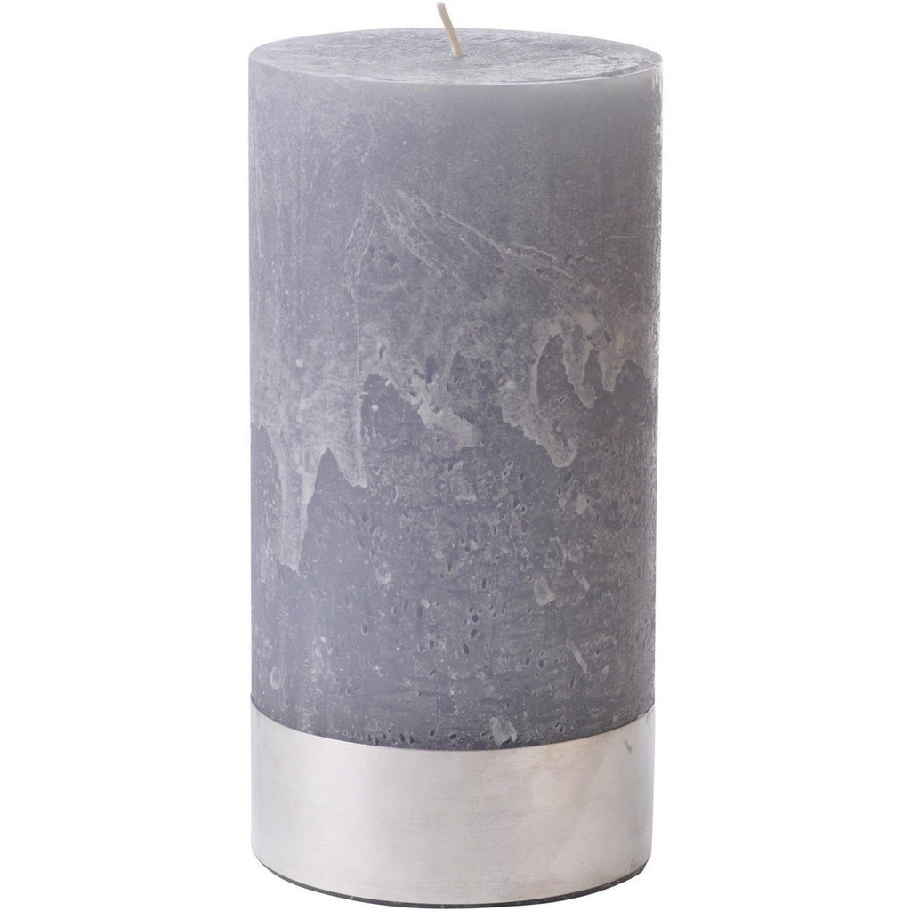Libra Light Grey Rustica Pillar Candle 10x20cm