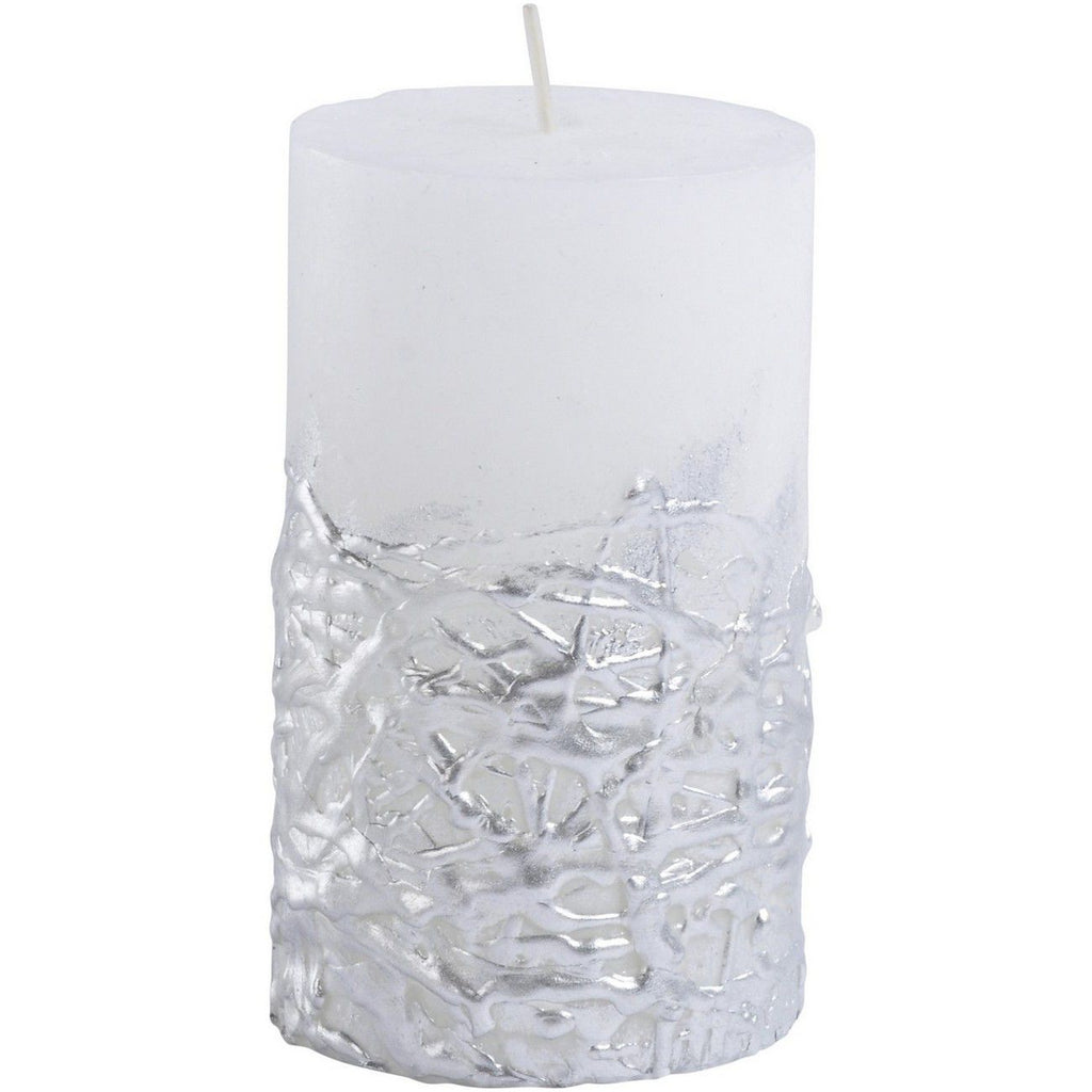 Libra White Candle With Textured Silver Base 7×12cm