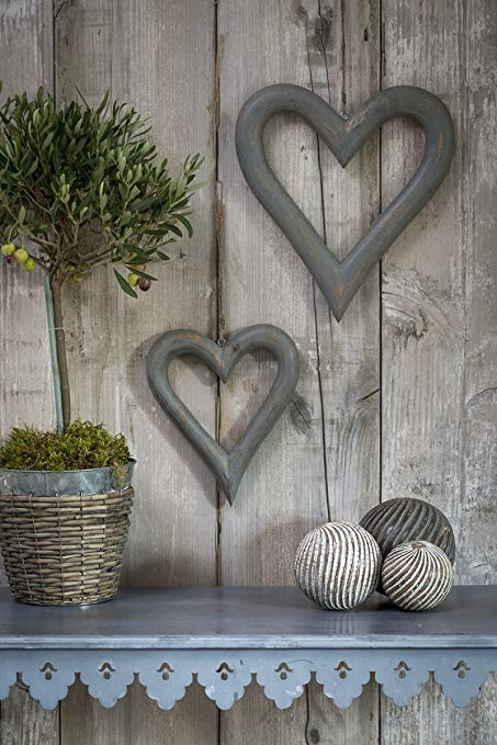 Pair of Large Grey Hanging Hearts