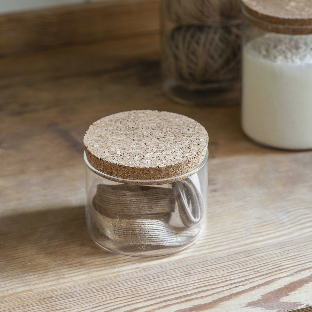 Small Glass & Cork Provender Jar
