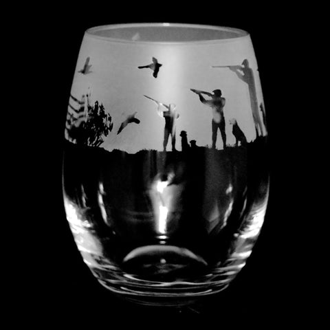 Shooting Scene Crystal Stemless Glass