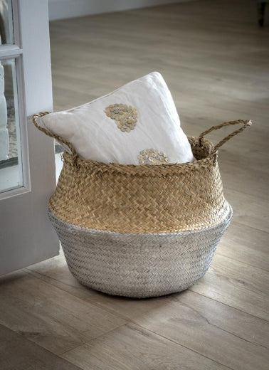 Silver Dip Seagrass Storage Basket