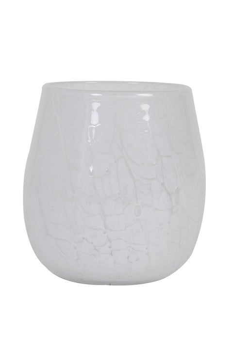 Sylas Large White Glass Tealight Holder