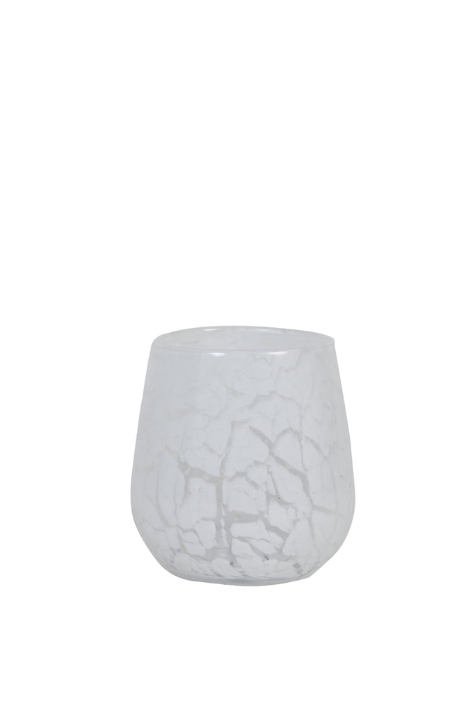 Sylas White Glass Tealight Holder
