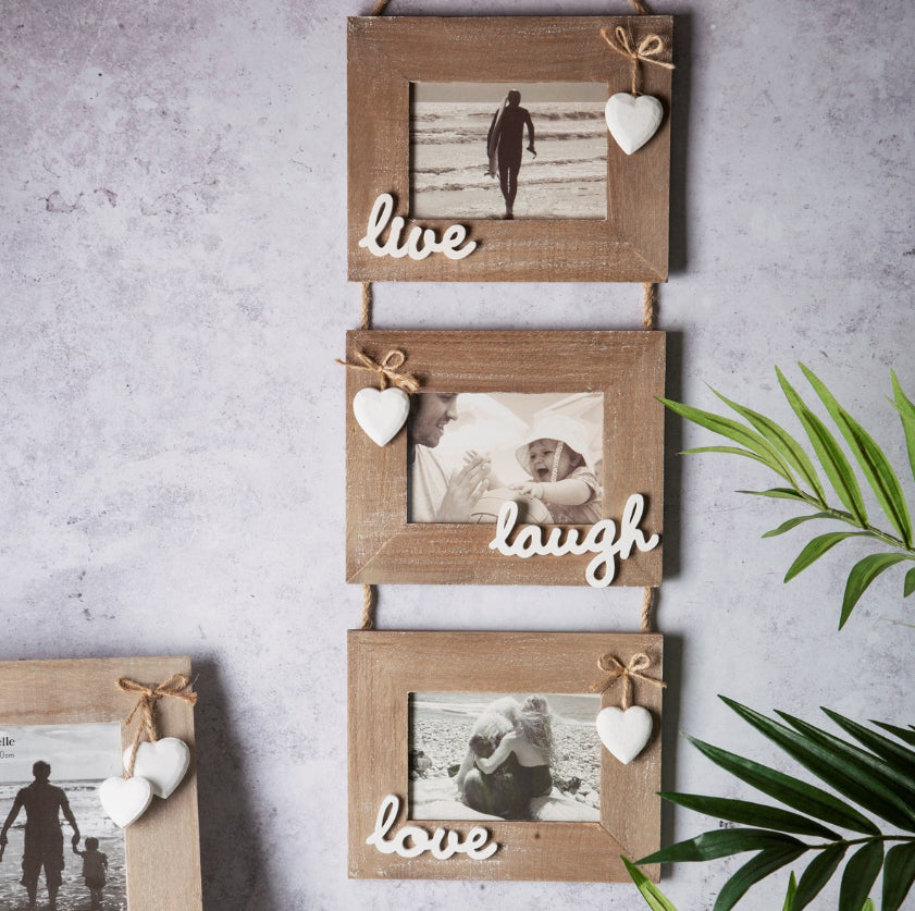 Farmhouse Rustic Live Laugh Love Triple Photo Frame