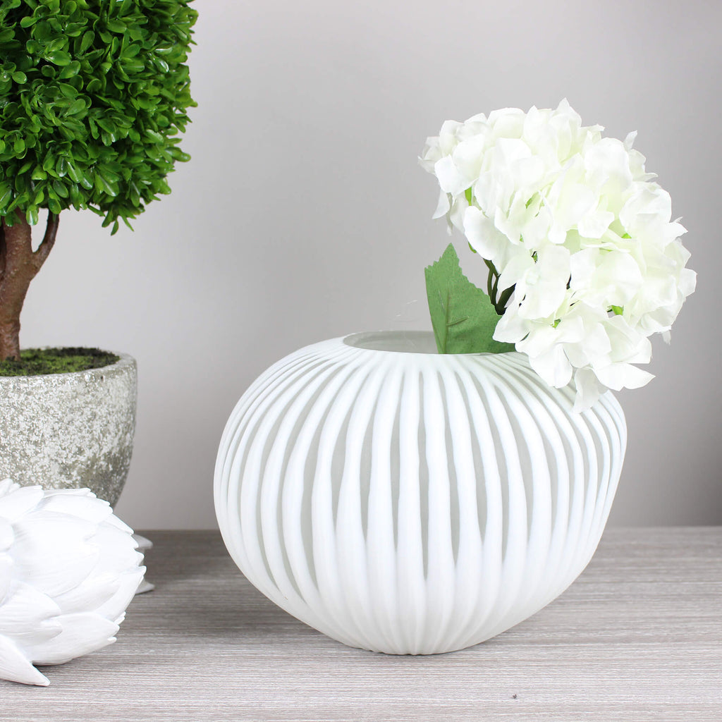 White Ribbed Wabi Vase