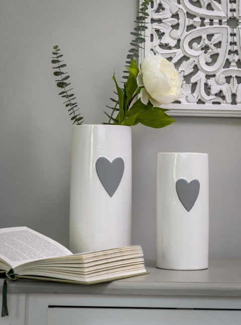 Small White Ceramic Vase with Grey Heart