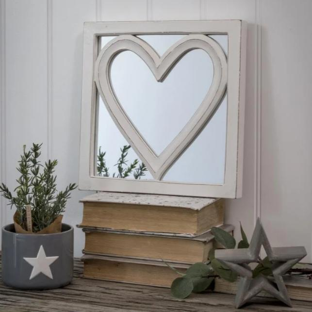 White Square Heart Mirror