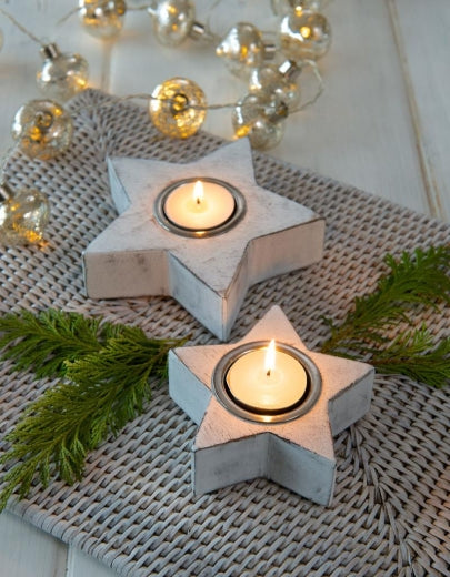 Medium White Star Tea Light Holder