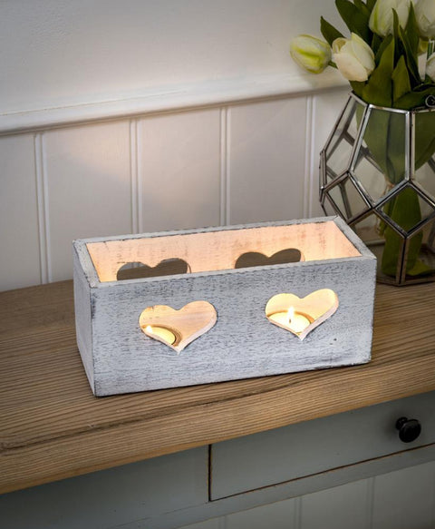White Heart Trough Tea Light Holder