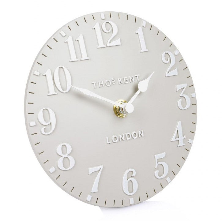 "Thomas Kent 6"" Arabic Dove Grey Mantel Clock"