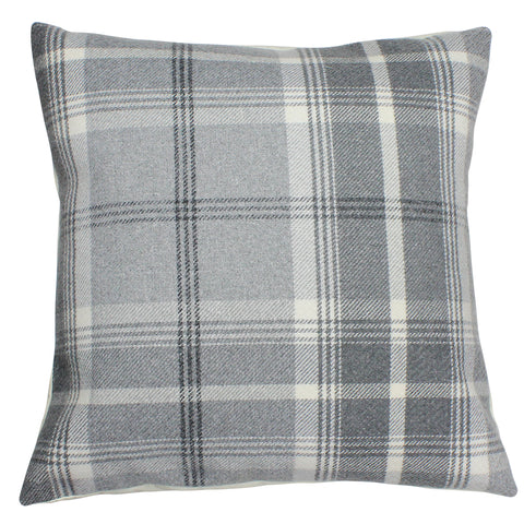 Dove Grey Balmoral Checked Cushion Cover