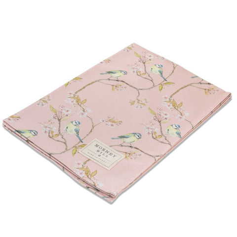 Mosney Mill Blue Tit on Blossom Pink Tea Towel