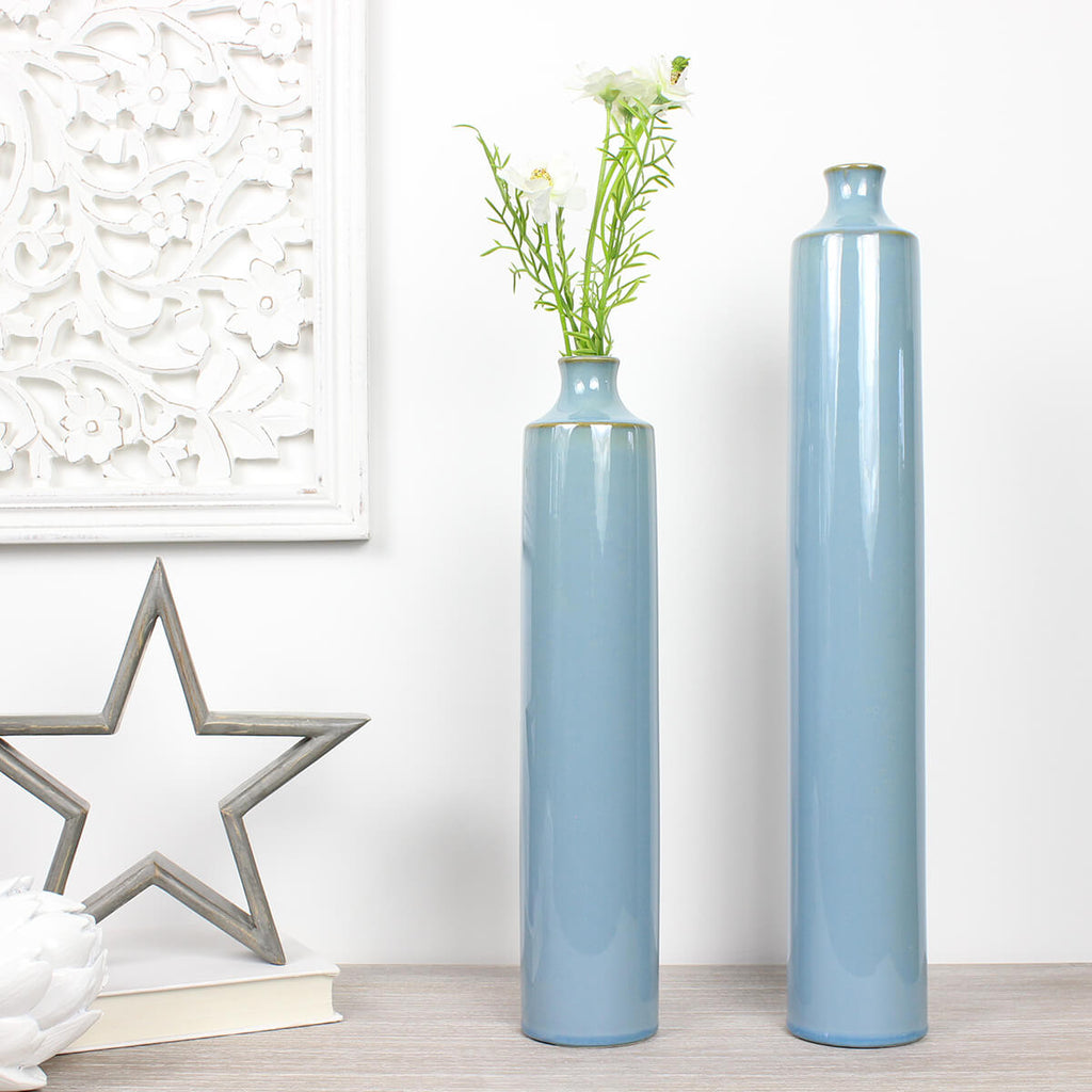 Large Blue Deco Vase