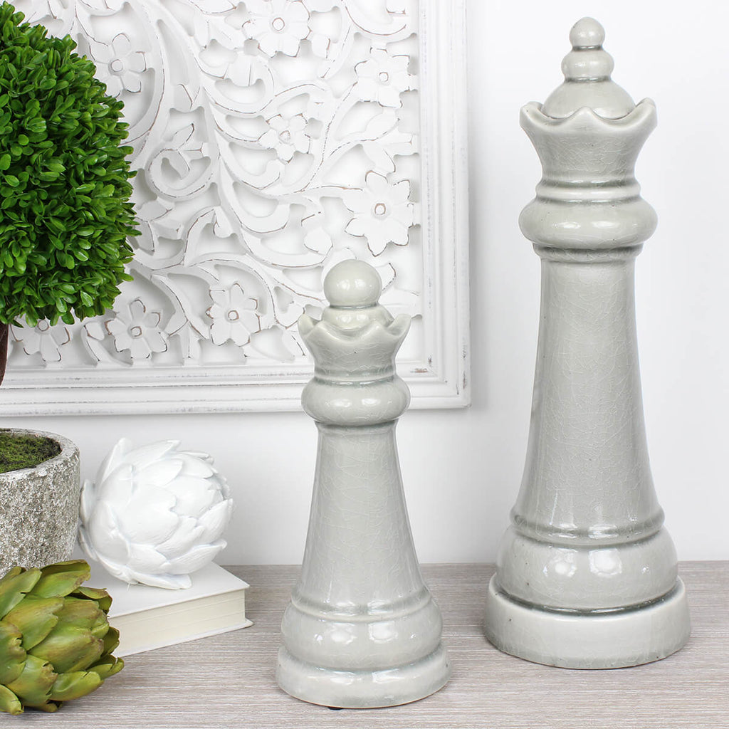 Grey Ceramic King Chess Piece