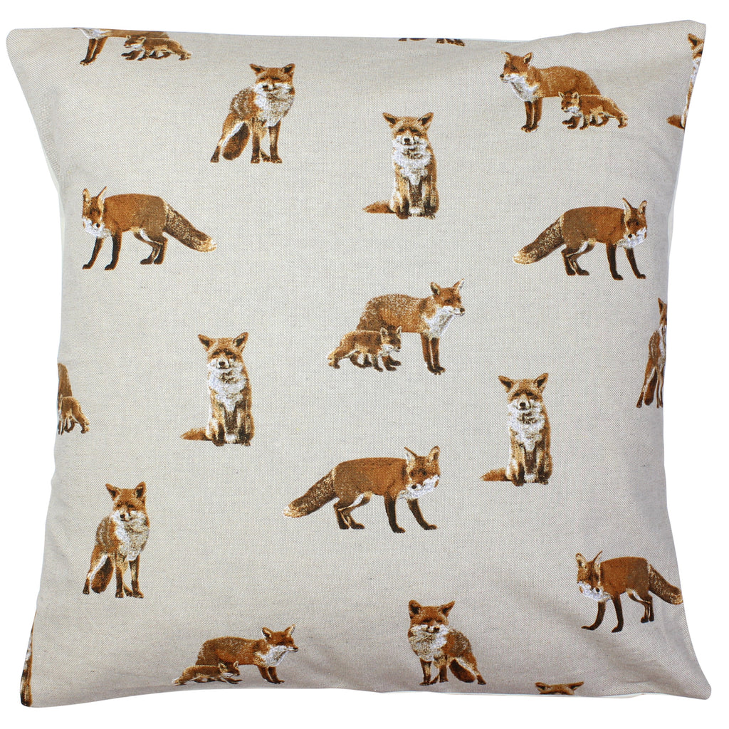 Fox & Fox Cub Cushion Cover