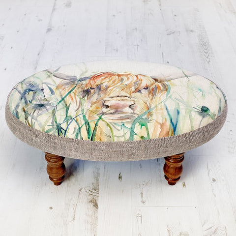 Highland Cow Bramble View Ceris Stool Voyage Maison Footstool