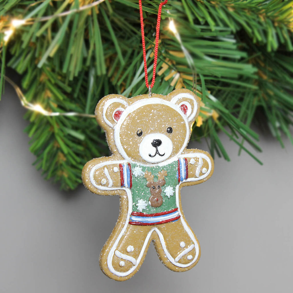 Gingerbread Green Teddy Christmas Decoration