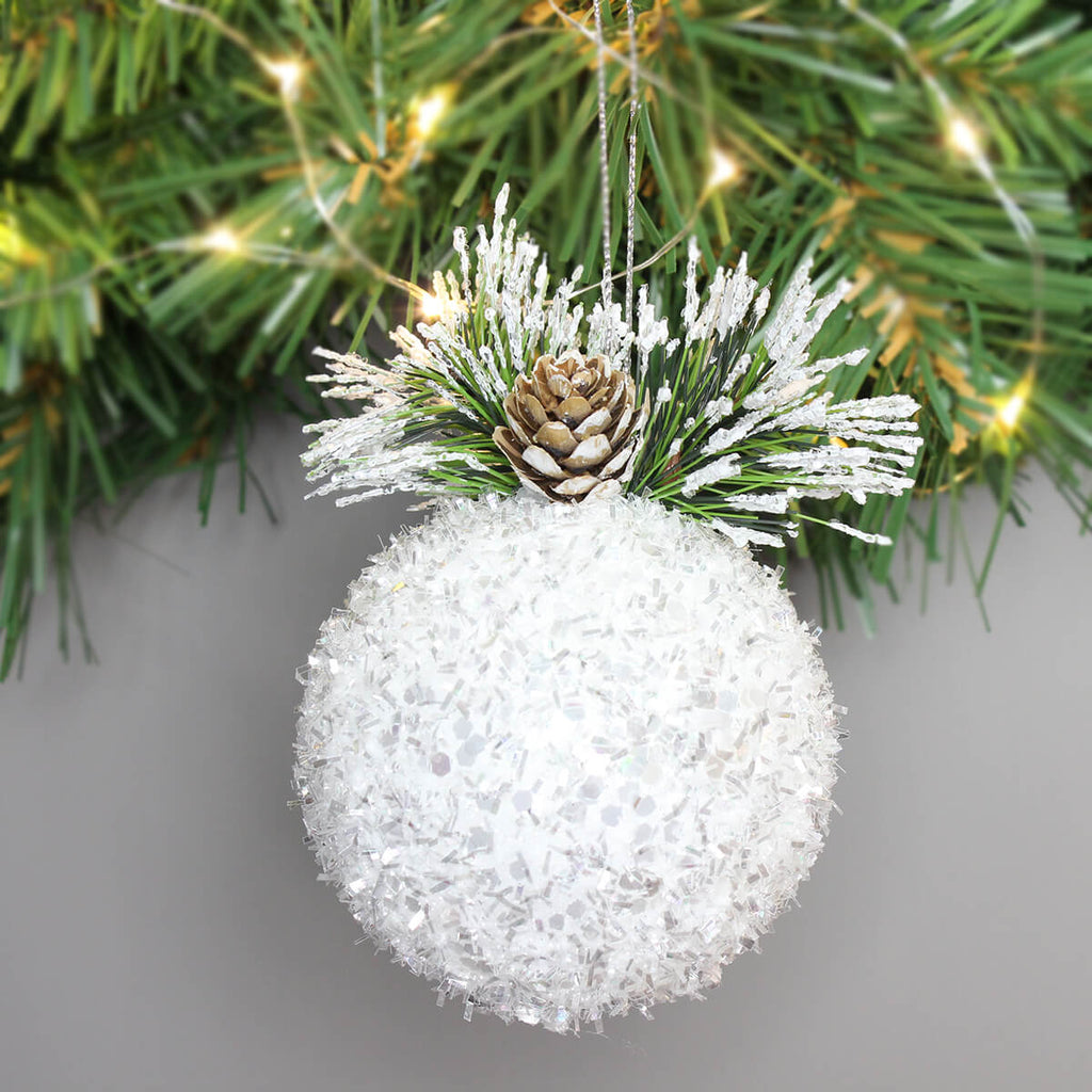 White Tinsel Bauble Tree Decoration