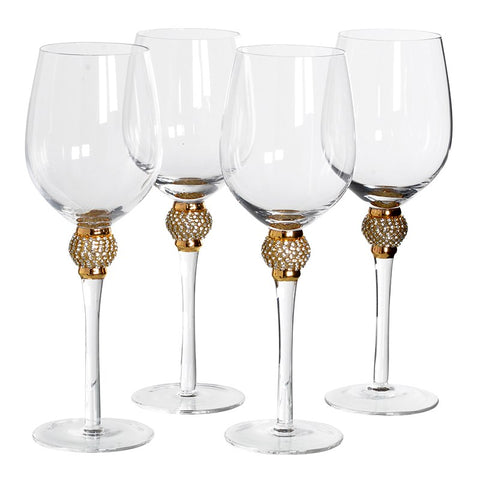 Set of 4 Gold Crystal White Wine Glasses