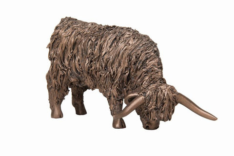 Highland Cow Grazing Frith Bronze Sculpture