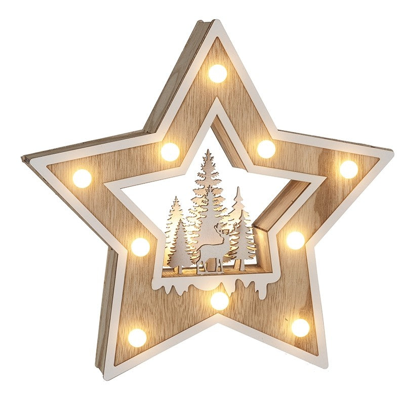 Wooden LED Star with Tree and Deer Scene