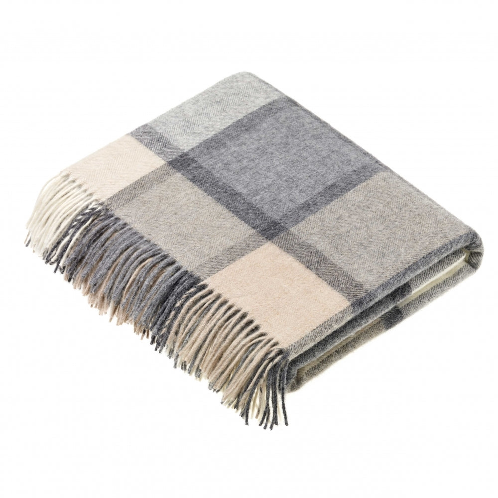Bronte by Moon Block Windowpane Throw White and Grey