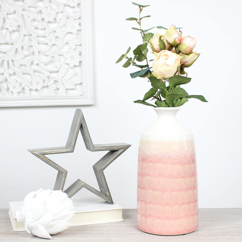 Pink and White Ceramic Mambo Vase