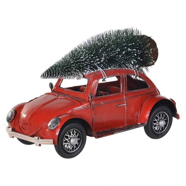 Red Beetle Car with Christmas Tree Roof
