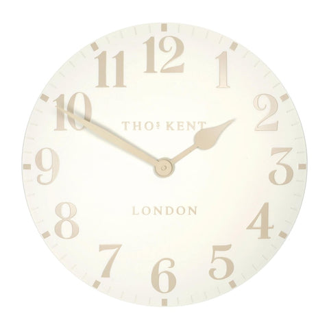 "Thomas Kent 12"" Arabic White Linen Wall Clock"
