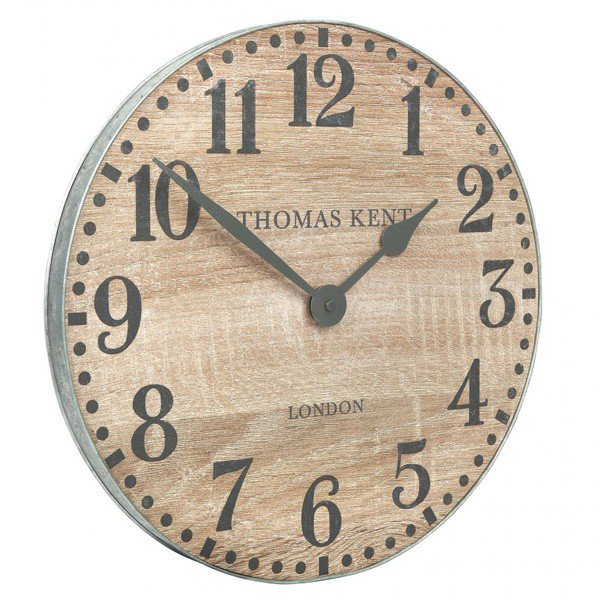 "Thomas Kent 15"" Wharf Soaped Oak Wall Clock"