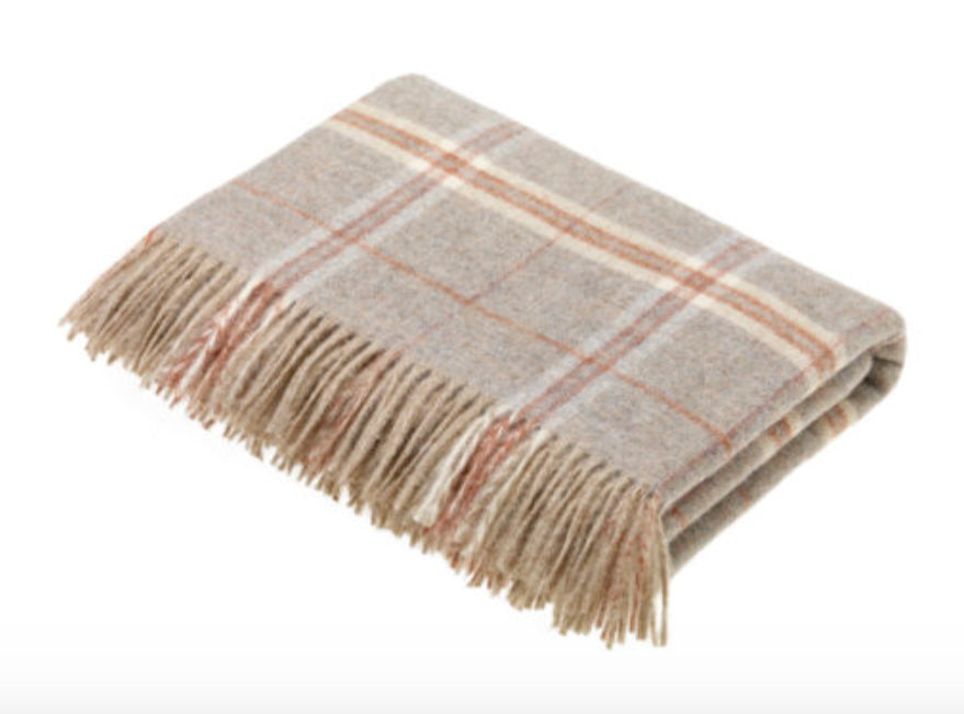 Bronte by Moon Windowpane Transitional Throw in Sandstone
