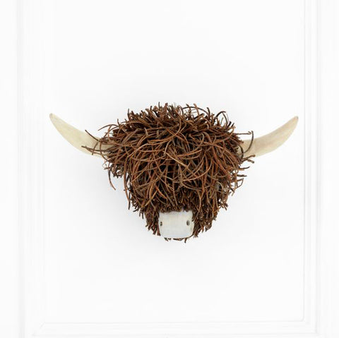 Highland Cow Wooden Sculpture Wall Mounted - Voyage Maison