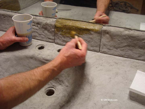Add concrete stain colors to the countertop surface