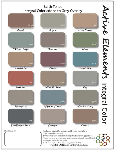 Concrete overlay integral color sheet - Earth Tones