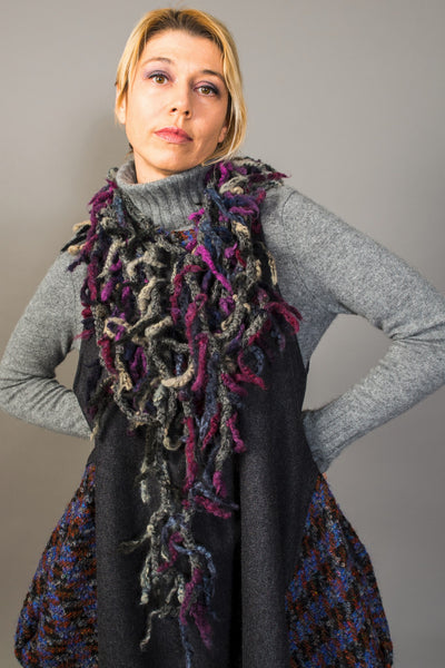 Double long fringed yarn Infinity scarf - criopia