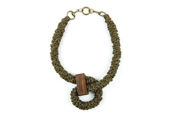 Komorebi braided khaki necklace - criopia