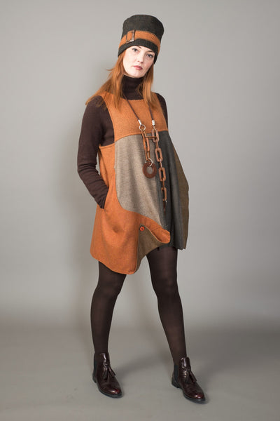 Variegated earth tones Lagenlook Tunic - criopia - 1