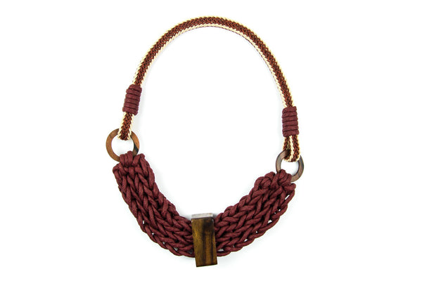 WabiSabi braided burgundy necklace - criopia - 1