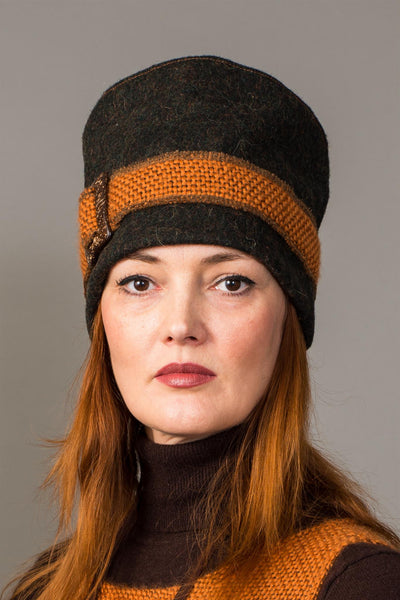 Wool toque hat with orange tweed stripe - criopia