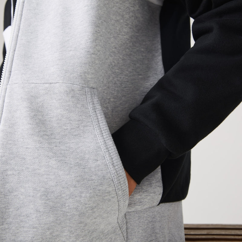 Men's Black/Grey/White Sport Colourblock Fleece Zip Sweatshirt hoodie