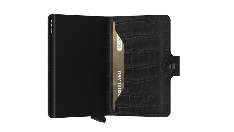 Miniwallet Cleo Black RFID Secure Authorized Dealer Leather Mini Wallet