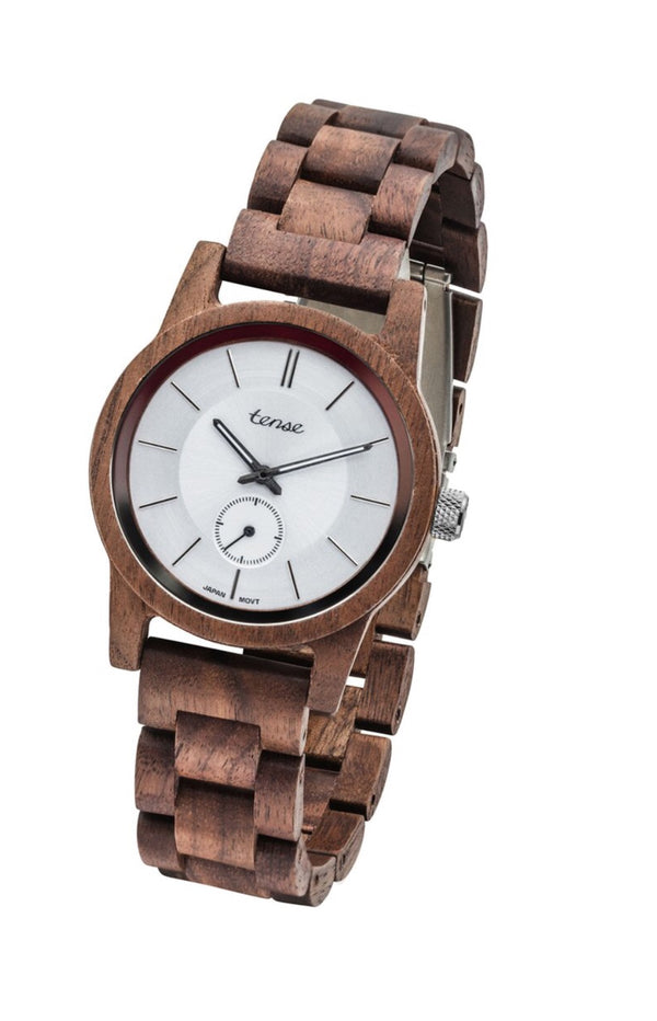 Tense Wooden Watch hampton || walnut white unisex
