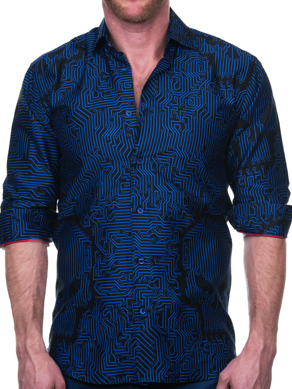 Maceoo Men's Dress Shirt skull print blue/black french cuff fashion