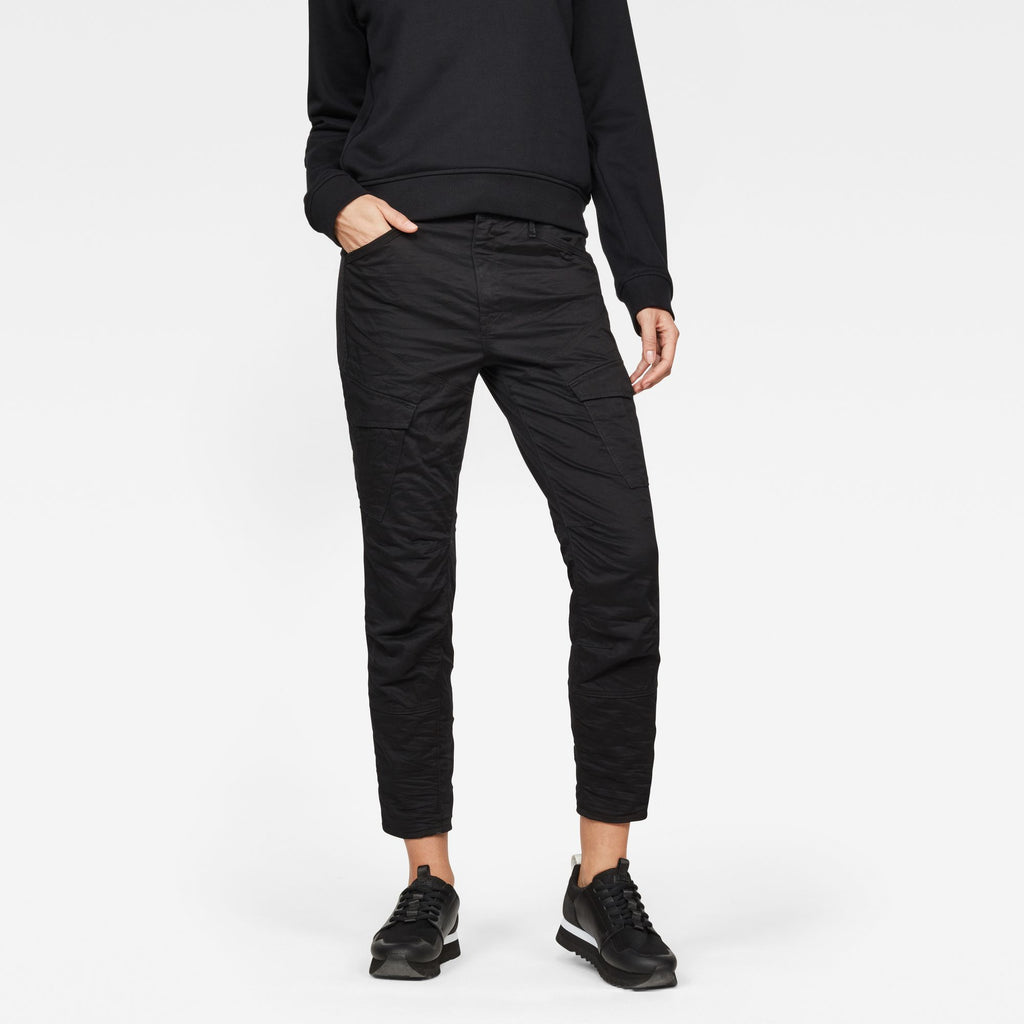 G-Star Woman's Cargo ROVIC MID SKINNY Dark Black Pants