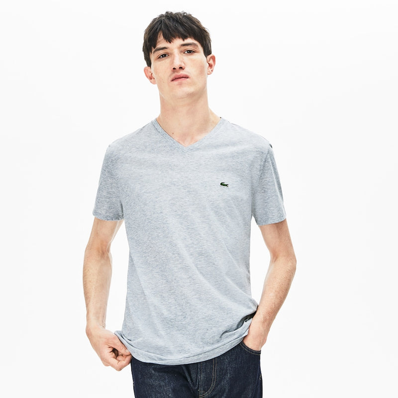 Lacoste Men's V-Neck Pima Cotton T-Shirt Grey