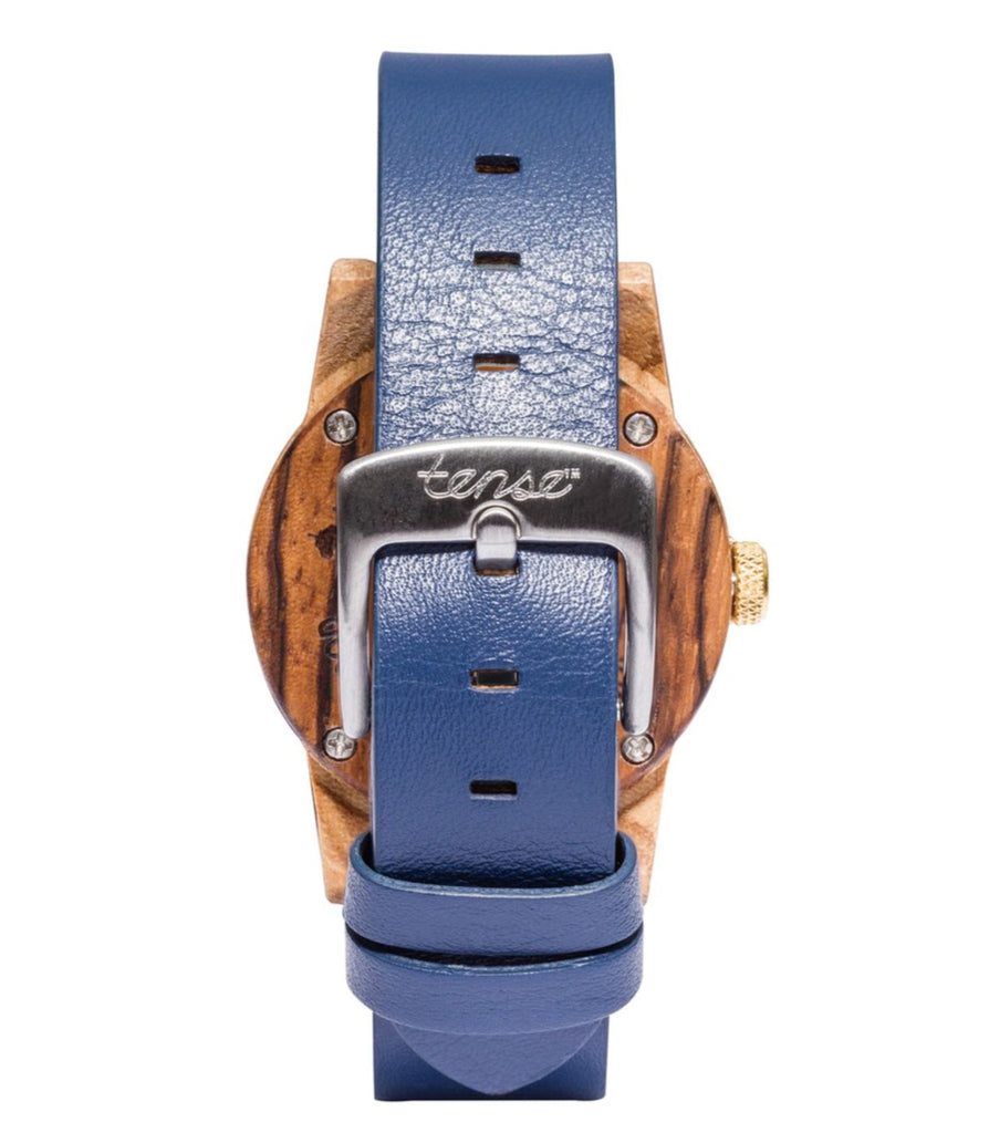 Tense women's SMALL LEATHER HAMPTON Zebrawood/Blue Wooden Watch