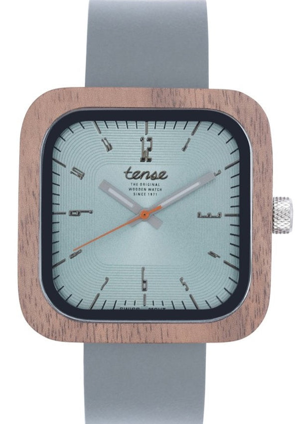Tense Unisex WoodenWatch Walnut/Grey Labrador Leather