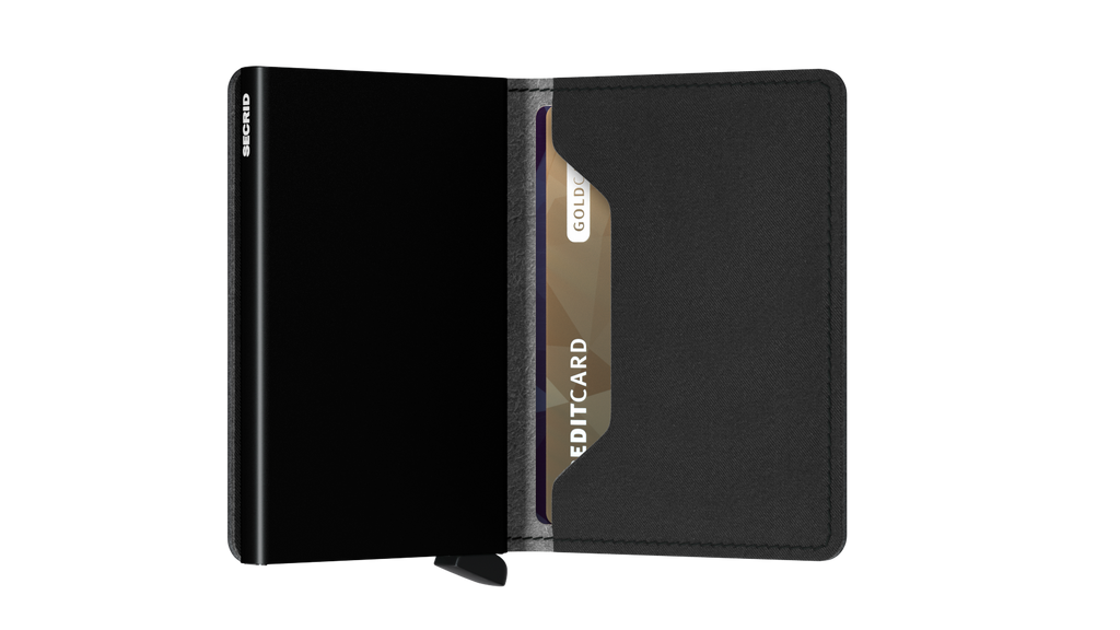 Slimwallet Yard Black-RFID Secure Authorized Dealer Slim Wallet-Vegan